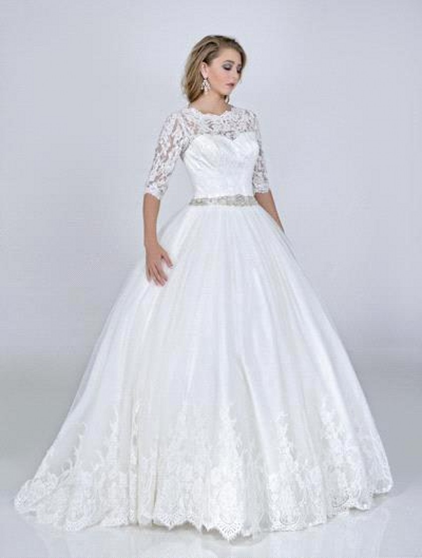 Buy new elegant boat neck 3 4 sleeves for 3 4 sleeve ball gown wedding dress