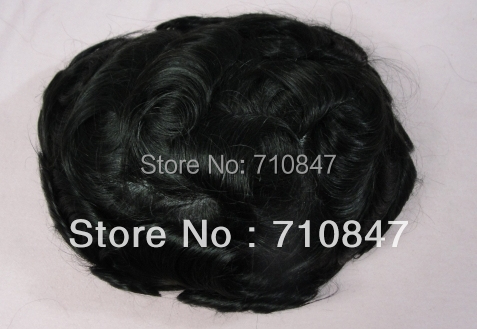 FREE SHIPPING super thin skin Invisible knot Men's Toupee