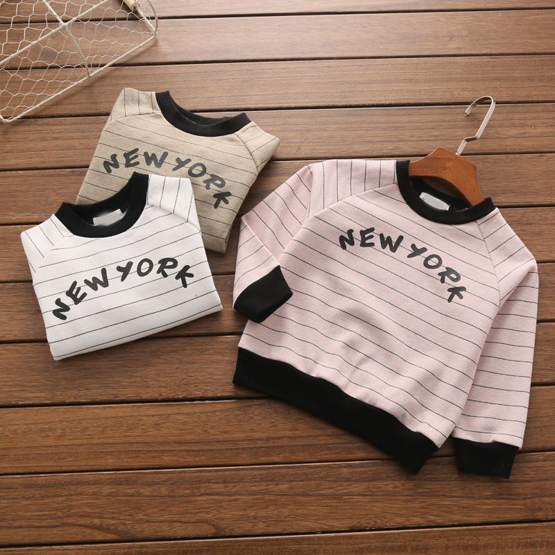 baby t-shirt cotton terry spring kids stripe letter printing children's clothing factory wholesale(China (Mainland))