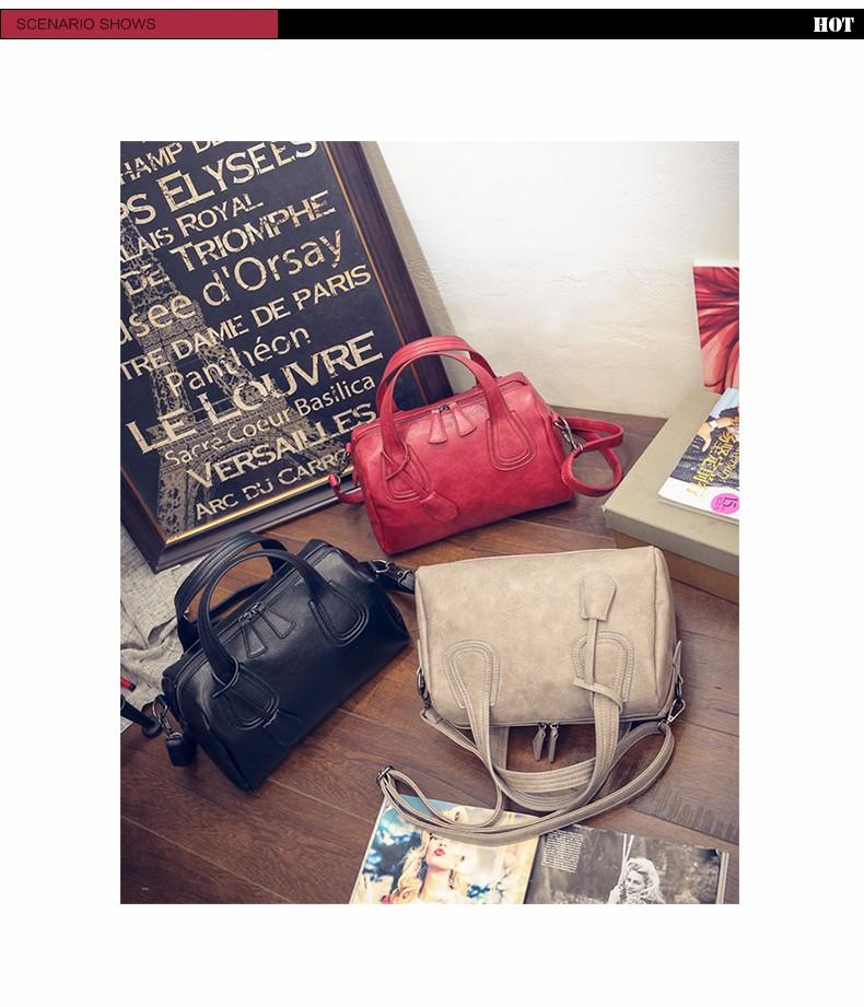 Occident Style Retro Red Boston Bag Women Luxury Designer PU Handbag Trendy Fashion Shoulder Bag Lady Stylish Barrel Shaped Bag