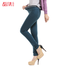 S-6 XL Plus Size Leiji Full Length Women Elastic Waist Jeans Autumn Candy Color Pencil Pants Causal Mid Waist Legging Trousers(China (Mainland))