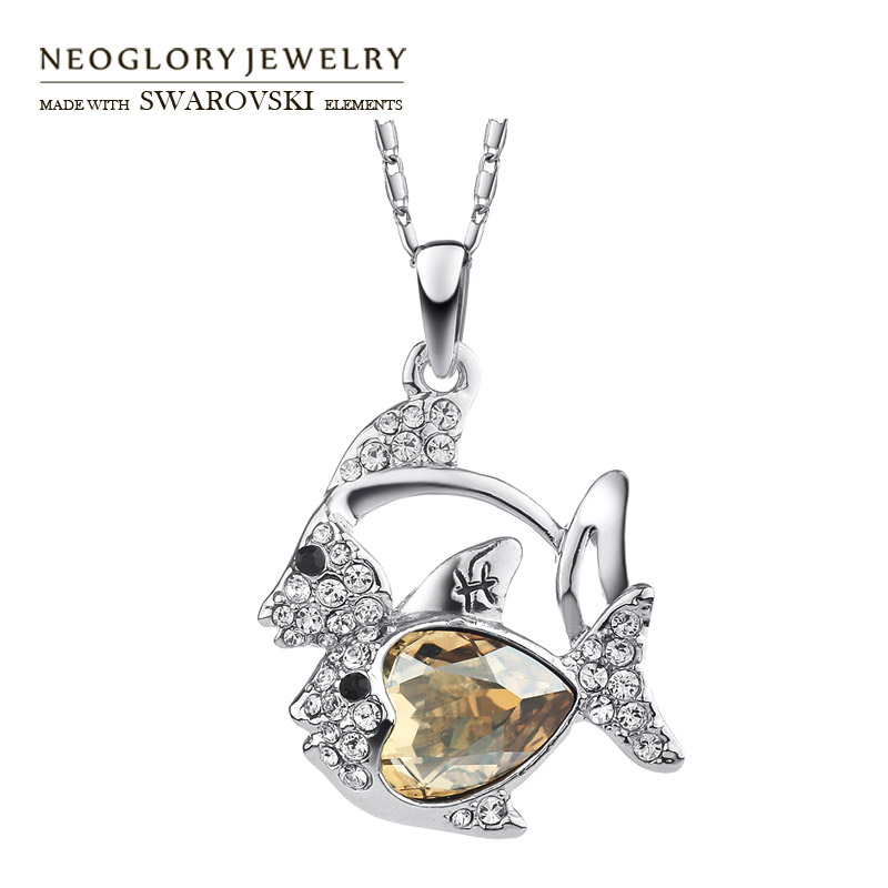 Neoglory Austria Crystal & Czech Rhinestone Pendant Necklace Cute Double Fish Pisces Design Platinum Plated Trendy New Sale(China (Mainland))