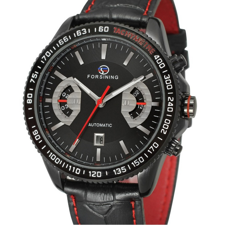 FORSINING Classic Black Red Automatic Watch Men Military Real Genuine Leather Strap Watches Luxury Brand  Wristwatches <br><br>Aliexpress
