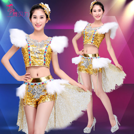 2016 girl gold new fashion DS nightclub DJ costumes clothing sexy clothes female sexy singer dancer star bar show prom singer