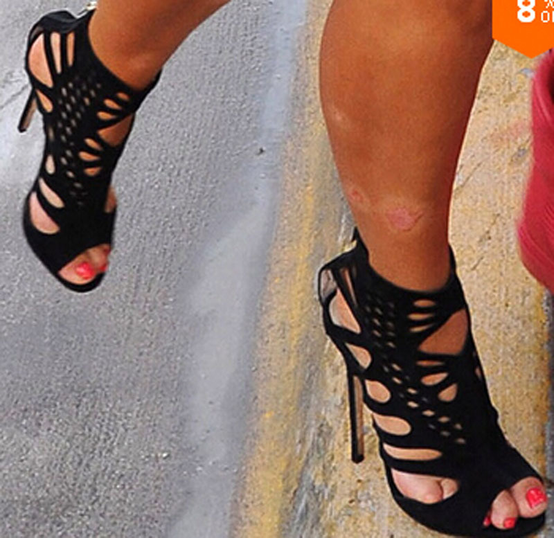 2015 new fashion elegant women black suede leather carved mesh sandals cut-out open toe high heels shoes - Fashion Western Style Boutique store