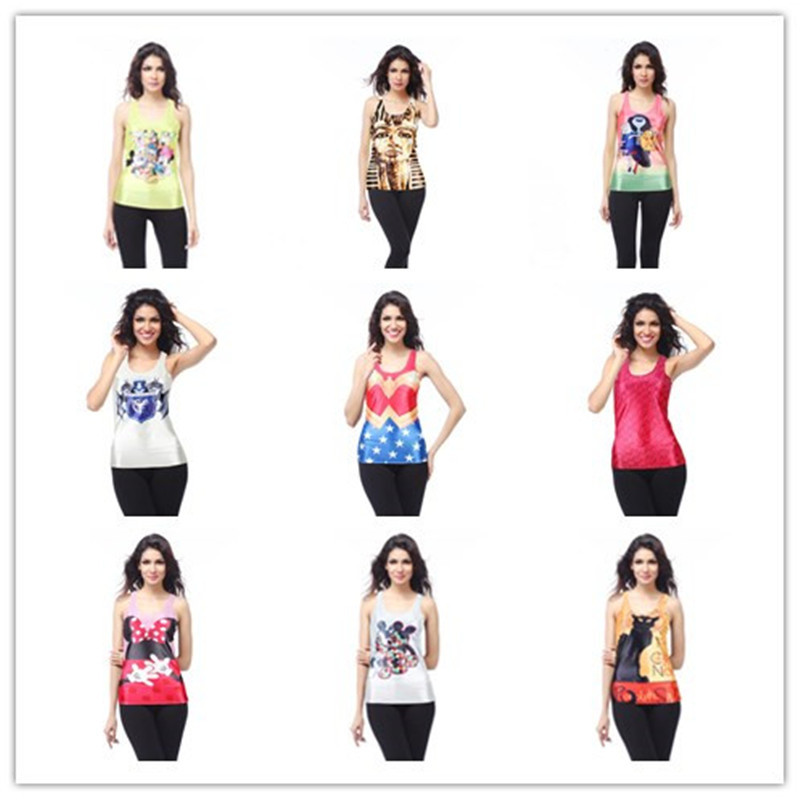 2015 New style women summer digital printing the word vest fashion contract color tops regular length tops csy101(China (Mainland))