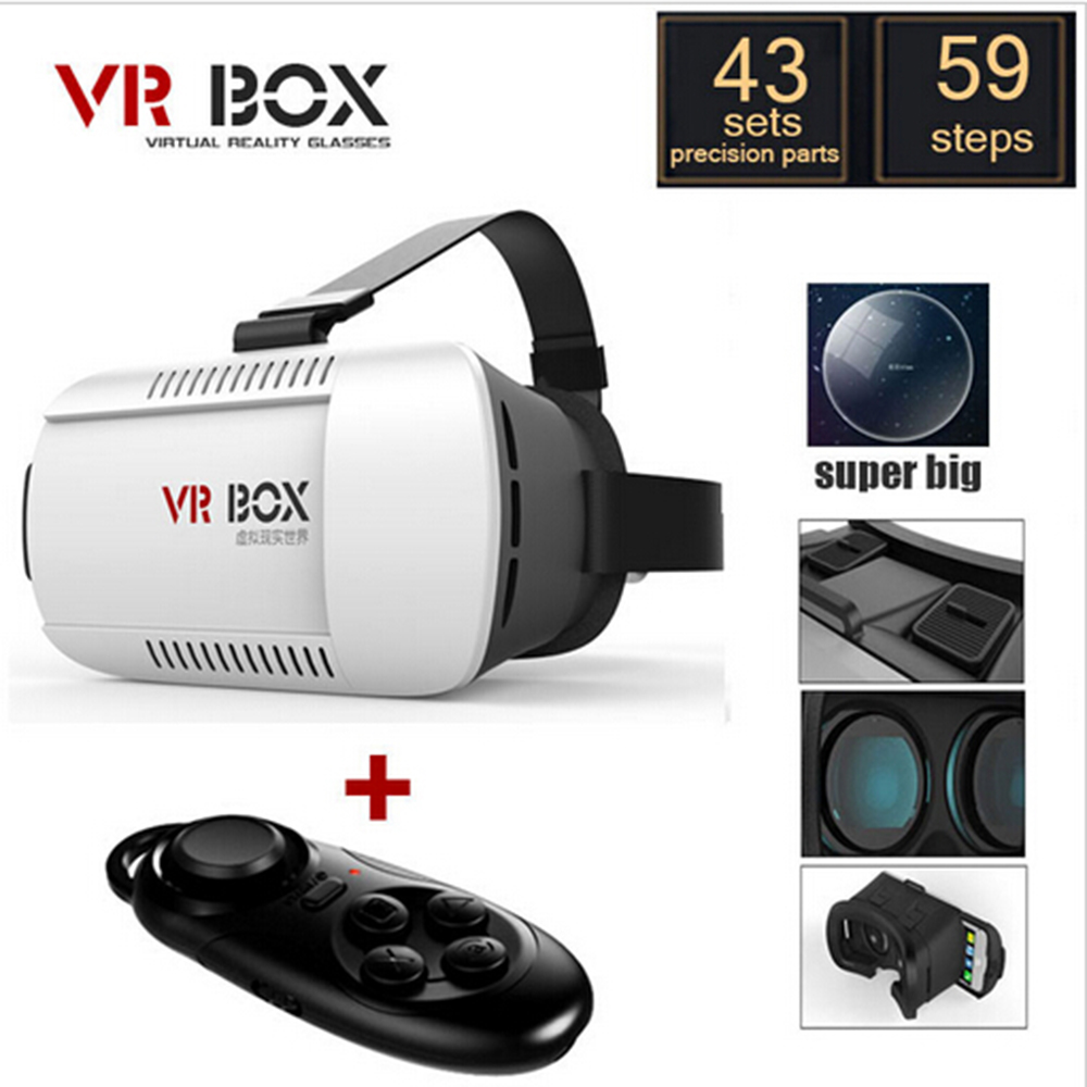 Google Cardboard VR BOX Virtual Reality Lunette 3D Glasses Goggles 3 D Vrbox Remote Control Gamepad for iPhone Samsung Android(China (Mainland))