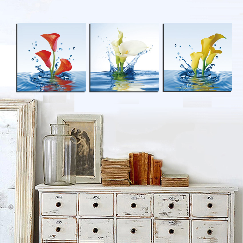 Hot Selling Only Canvas 3 Pieces Home Decor Art Painting Modern PictureRed and yellow tulips in the water No Frame(China (Mainland))
