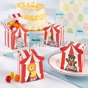 "NEW ARRIVAL+Baby Shower Favors ""Big Top"" Circus Candy Box Small Box For Candy Baby Favor Box+100ppcs/lot+FREE SHIPPING(China (Mainland))"