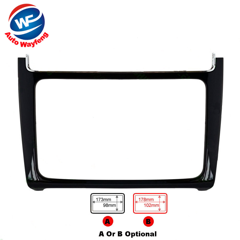 2 DIN Piano black Car refitting DVD frame,DVD panel,Dash Kit,Fascia,Radio Frame,Audio frame Fit For VW POLO 2014-(2015 J-2161)(China (Mainland))