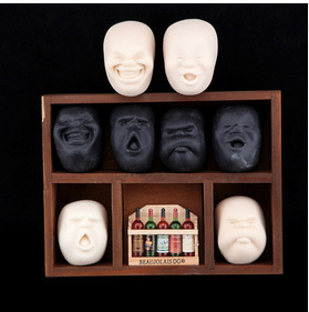 Free Shipping 4pcs/lot 4 Type Vent Ball Toy Resin Human Face Doll CAOMARU Adult Stress Relievers Japanese Design Anti-stress(China (Mainland))