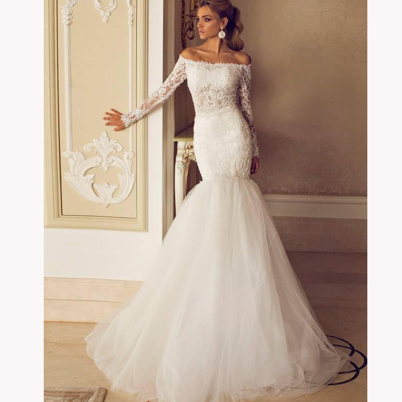 Gallery For Wedding Dress Lace Sleeves Mermaid