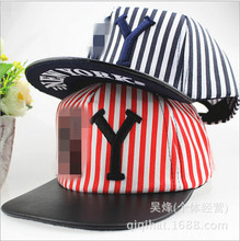 T305 Cheap sombreros baseball hat Top-end polos casquette snapback leather edge Good stripe kids hiphop caps Hot cap for girls(China (Mainland))