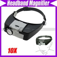 Watch Repair Head Headband Magnifier Glasses Loupe 10X With LED Light #3509