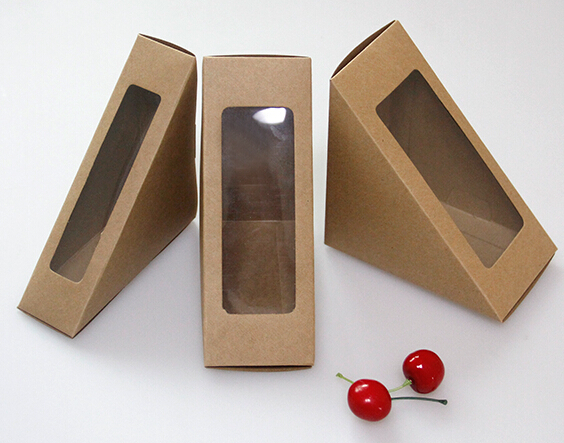12*12*4cm Brown kraft paper sandwich boxes with window , Good Quality Sandwich Boxes With Window,Disposable Sandwich Packing(China (Mainland))