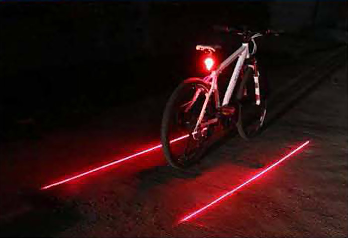 2015Latest LED Laser Bicycle Bike Rear Tail Width Light Flashing Strobe Warning Lamp Red Blue Green Three Colors Available - FUNTASY store