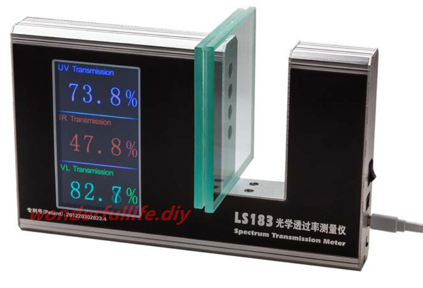 Brand New Spectrum Transmission Meter Tester Peak wavelength UV 365nm VL 380nm-760nm (Full Weighted Spectrum) IR 940nm(China (Mainland))