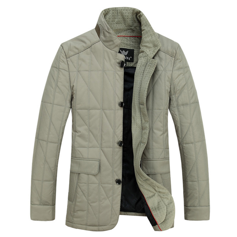 High quality mens thick parkas winter 2016 New stand collar Slim fit casual middle-aged Grid parka jacket big yards coat for menÎäåæäà è àêñåññóàðû<br><br>