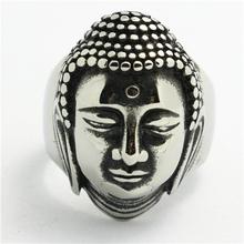 Mens Boys 316L Punk Gothic Buddha head Silver Ring