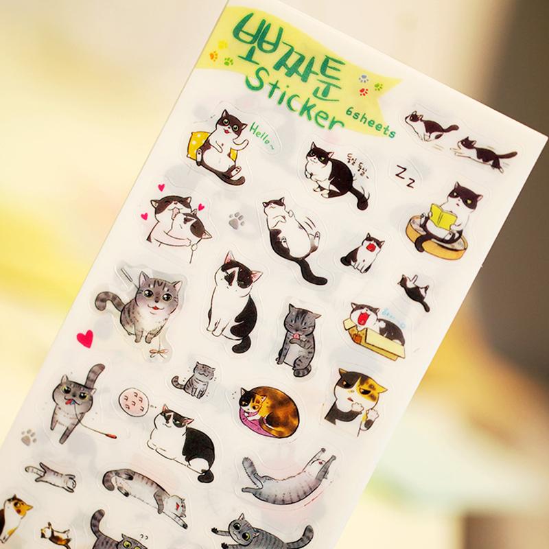 6 pcs/lot cute cat PVC paper sticker diy planner decorative sticker scrapbooking diary kawaii stationery(China (Mainland))
