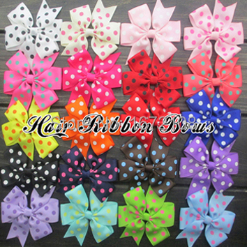 120pcs lot 3 Polka Dots Hair Bows Grosgrain Ribbon Children Hairbows Baby Bow Ties Hair Cloth