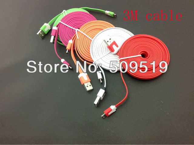 Fedex shipping + 500pcs/lot 3M Noodle flat color USB Micro cable for HTC &Samsung  S3 S2& Nokia& LG &Sony cheap price
