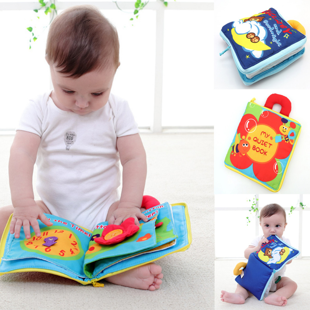 12 pages Soft Cloth Baby Boys Girls Books Rustle Sound Infant Educational Stroller Rattle Toys For Newborn Baby 0-12 month(China (Mainland))