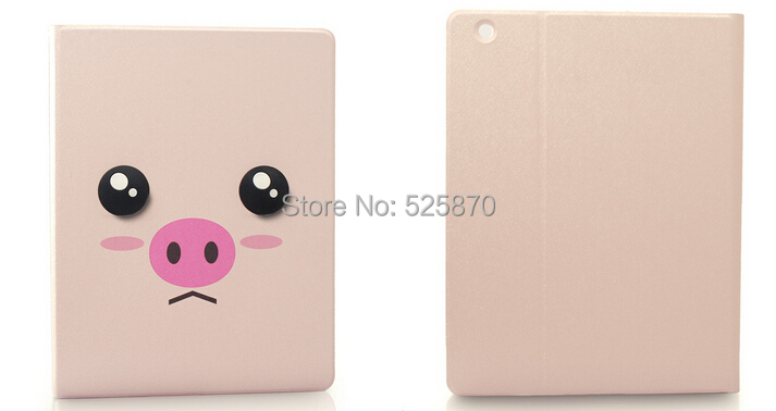 Free shipping ! Cute little piggy smart case for ipad air cartoon 3D eyes tablet pc case for ipad 5(China (Mainland))