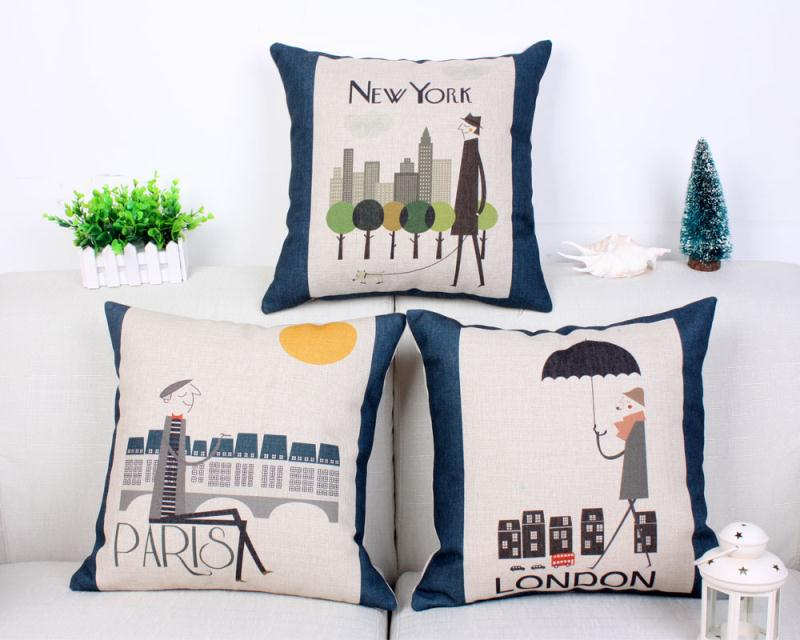 Free Shipping City Pictorial Cotton Linen Fabric Decorative Cushion 45cm Hot Sale New Home Fashion Christmas Gift Pillow