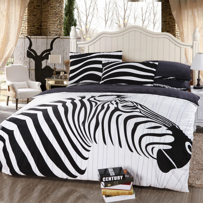 zebra animal print black white bedding comforter set queen size bedspread duvet cover bed in a. Black Bedroom Furniture Sets. Home Design Ideas