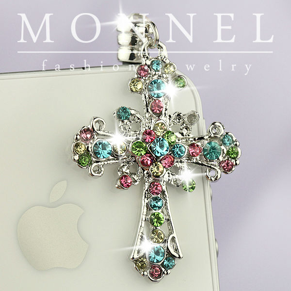 ip525a Monnel Religious Rainbow Crystal Cross Cell Phone Anti Dust Plug Cover Charm(China (Mainland))