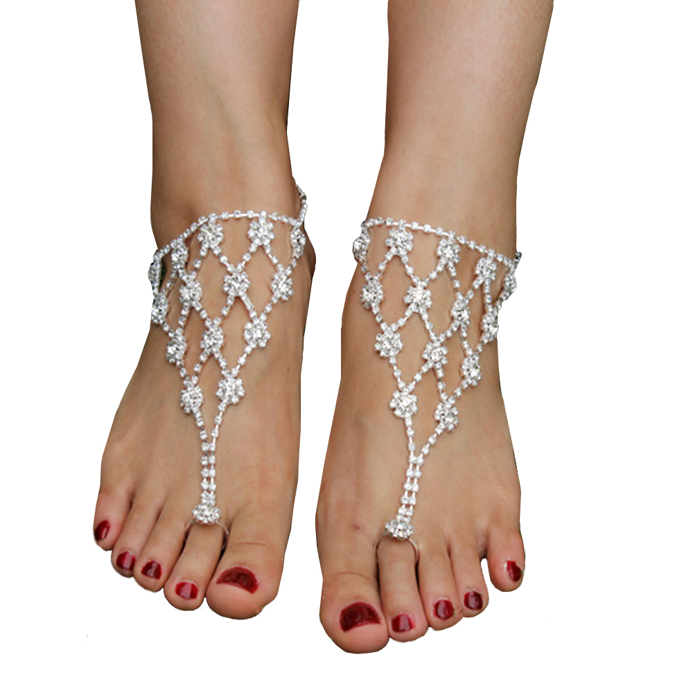 Bridal Crystal Ankle Bracelet Barefoot Sandals Foot Jewelry Toe Beach Chain Anklet Gift for women pulseras tobilleras(China (Mainland))