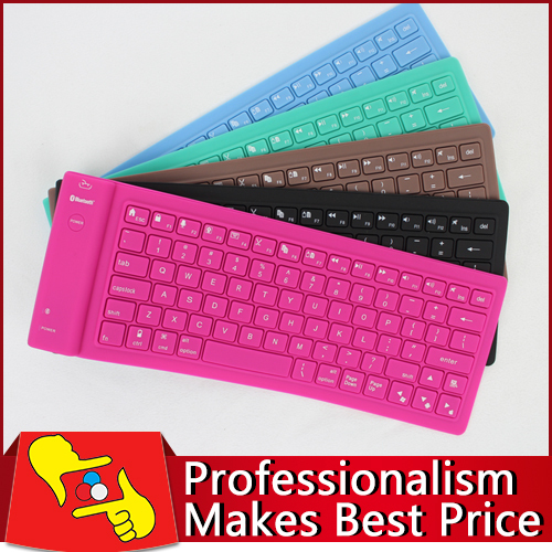 10pcs/lot factory direct sale 82keys folding Waterproof Flexible Soft Silicone wireless bluetooth 2.4G Keyboard for tablet PC(China (Mainland))
