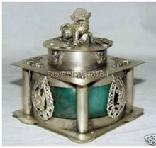 VINTAGE TIBET SILVER JADE KYLIN DRAGON INCENSE BURNER(China (Mainland))