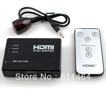 Free Shipping 5pcs/lot 3x1 HDMI Amplifier Switcher HDMI 3 to1 Switch Remote Control F HDTV DVD