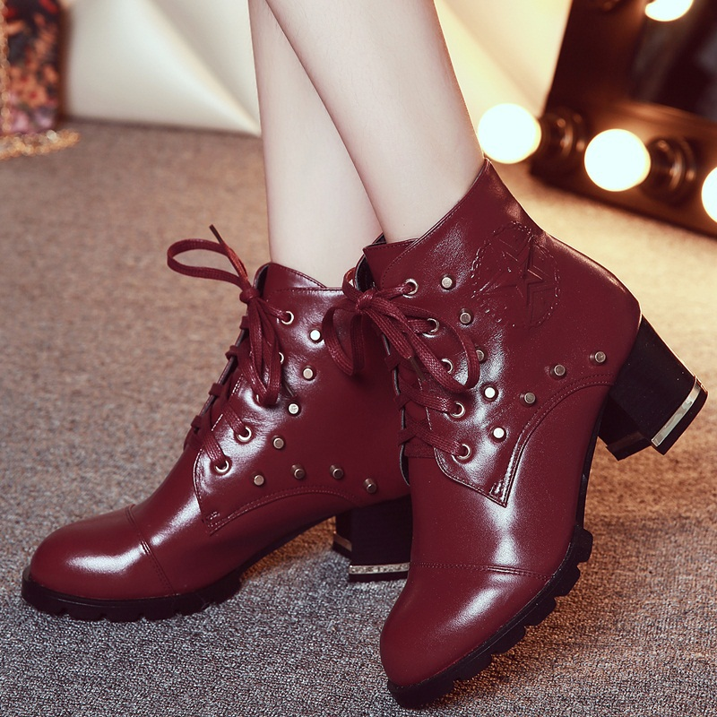 2015 new morden spring autumn winter ankle boots hit color black rivets shoes round toe cross lacing medium heels ankle boots<br><br>Aliexpress