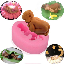3D Tummy Sleeping Baby Shape Silicone Fondant Cake Mold DIY Decorating Tool, Fondant Baby Mould Silicone Soap Sugarcraft Baking(China (Mainland))