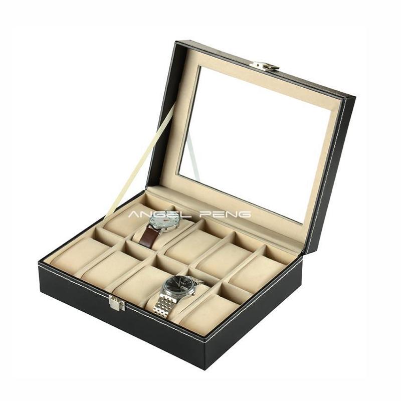 10 Grids Leather Jewelry Watch Display Box Storage Holder Organizer Case - dansy's store