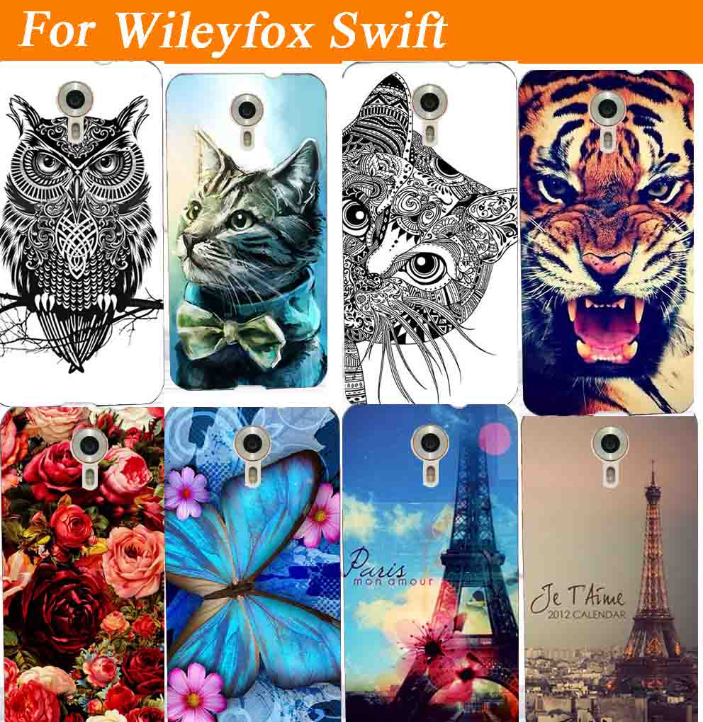 14 Patterns Beautiful Rose Soft Tpu Back case For Wileyfox Swift New Clearly Printed SWIFT Colored Animals Cell Phone case cover(China (Mainland))