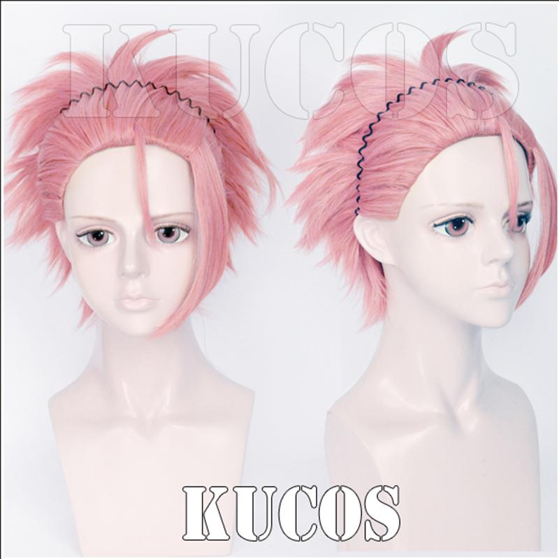 Anime Binan Koukou Chikyuu Bouei Bu Love! Ryuu Zaou Full Cosplay Costume Wig Pink Styled Short Heat Resistent Hair+Headband(China (Mainland))