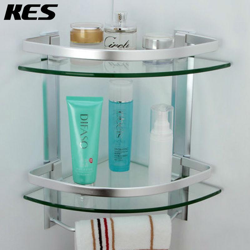 KES A4123 Aluminum Bathroom 2-Tier Glass Corner Shelf with Towel Bar Wall Mounted, Silver Sand Sprayed(China (Mainland))