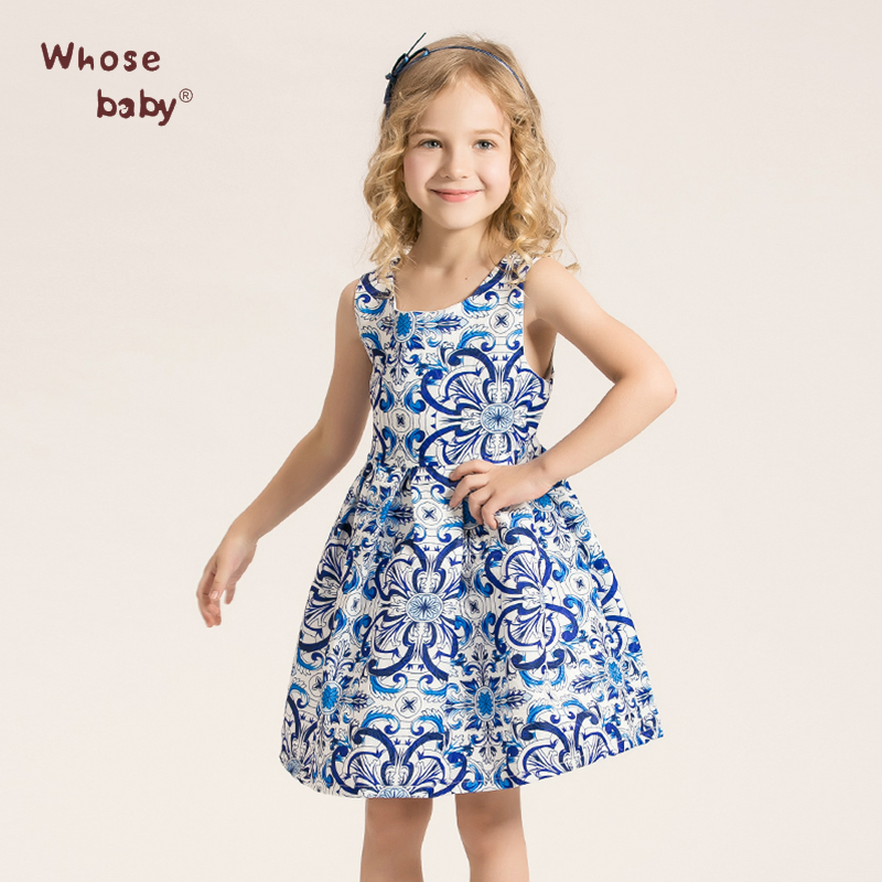 Kids Floral Print Dresses for Girls Princess Girl Party Wedding Clothes Children Clothing Blue Kids Clothes Of 3-14Y WHOSEBABY(China (Mainland))
