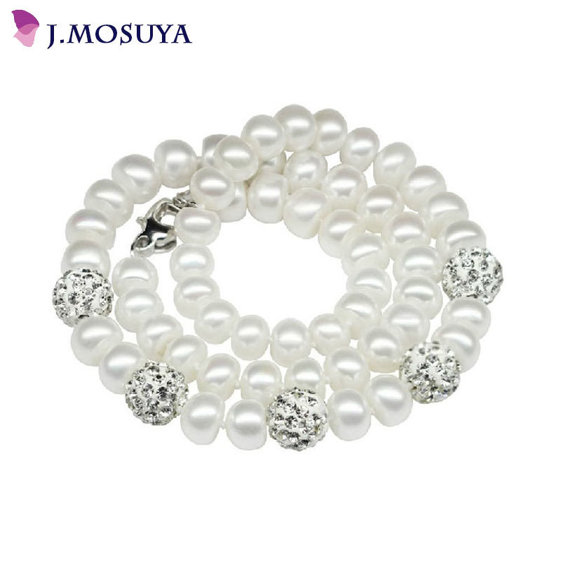Fine 100% Freshwater Pearl Necklaces For Women Crystal Ball White Natural Pearl Jewelry 18K White Gold Plated Women Necklace