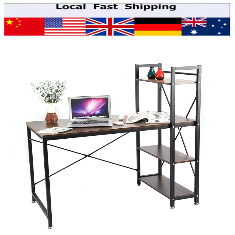 Home Office Study Desk Corner Computer PC Table Workstation with Bookcase Shelf(Hong Kong)
