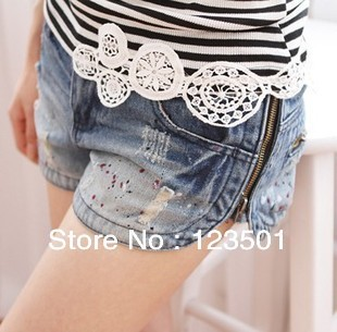 Free Shipping 2013 New Summers Cuffed Printing Low Waist Women's Denim Shorts