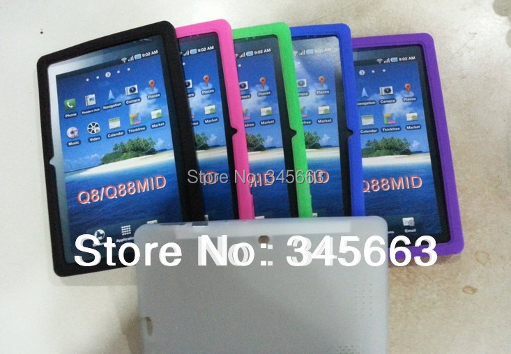 Free Shipping 2014 Multi-color Silicone Rubber Back Case for Q88 allwinner a13 tablet pc,tablet case(China (Mainland))