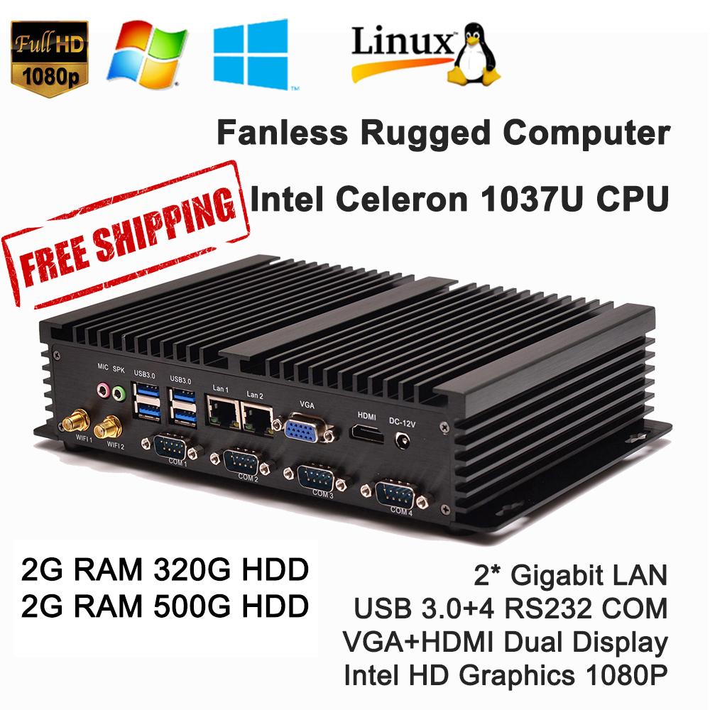 Multi-functional Mini PC with Celeron 1037U processor Industrial PC Dual LAN 4*RS232 Fanless Mini PC USB 3.0 HDMI+VGA(China (Mainland))