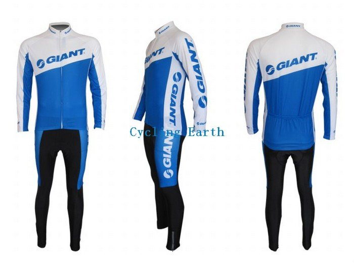 New arrived!!! 2010 GIANT long sleeve cycling wear clothes bicycle bike riding long jerseys+Z123 sets white(China (Mainland))