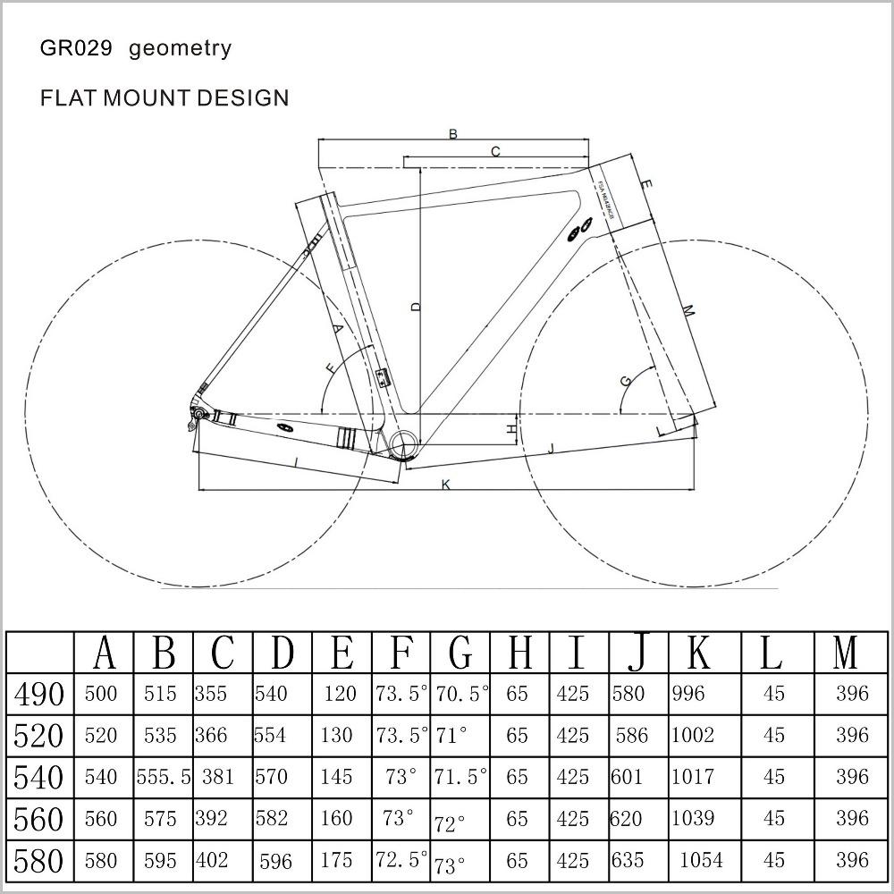 GR029-geometry carbon frame