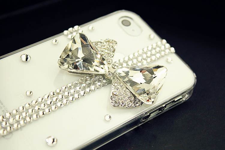 HOT Luxury Bling Diamond Gem Bow Cross Crystal Case Cover for Apple iPhone 4 4s 4hd8(China (Mainland))